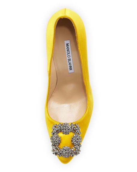 Hangisi Satin Crystal-Toe Pump, Yellow