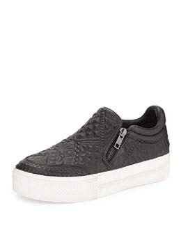 Jig Geometric-Embossed Leather Skate Sneaker