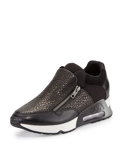 Lenny Pebbled Leather & Neoprene Sneaker, Black