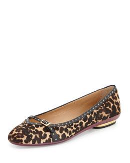 Audrey Leopard-Print Calf Hair Grommet Skimmer