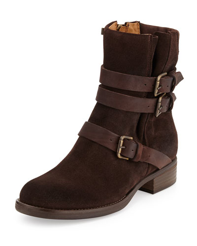 Triumvirate Suede Buckle Boot, Brown