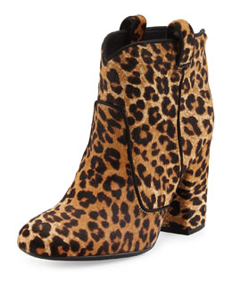 Pete Leopard-Print Calf Hair Western Ankle Boot