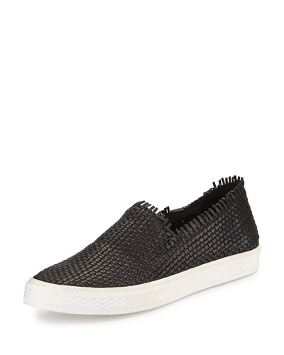 Mazzy Woven Leather Fringe Skate Shoe, Black