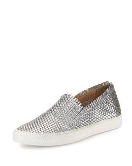 Mazzy Woven Metallic Fringe Skate Shoe, Silver