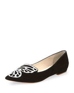 Bibi Butterfly-Embroidered Point-Toe Skimmer