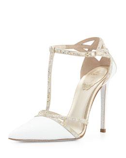 Crystal Snakeskin T-Strap Sandal, White