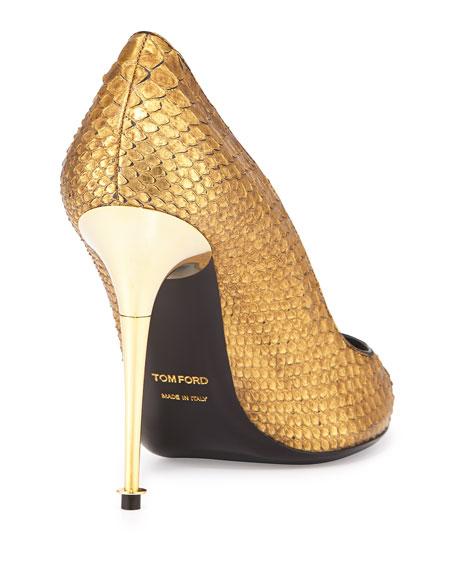Python Point-Toe Stiletto Pump, Gold