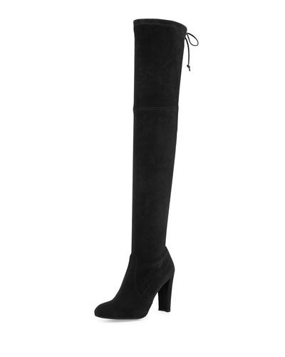 Highland Stretchy Suede Over-the-Knee Boot, Black