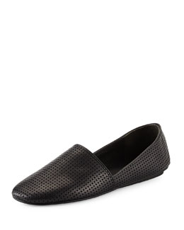 Bogart-3 Perforated Leather Flat, Black