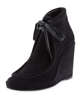 Suede Lace-Front Wedge Bootie