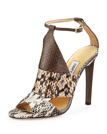 58e884d254 Jimmy Choo Timbus Colorblock Snakeskin Sandal