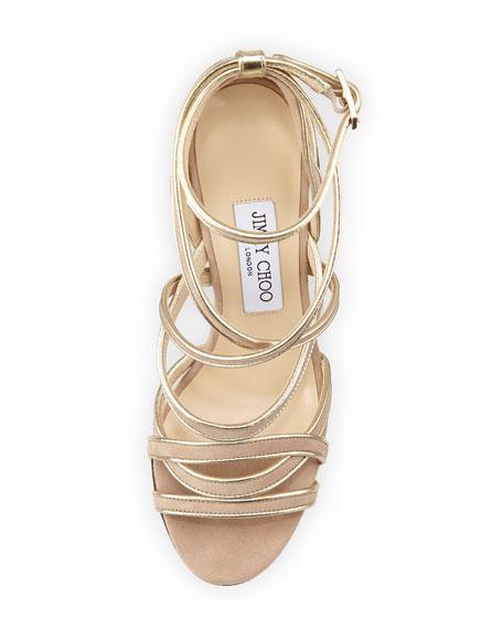 Vargo Metallic-Trimmed Suede Strappy Sandal