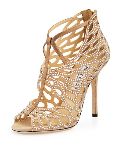 Fyonn Strass Caged Bootie, Nude