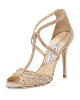 Dida Suede T-Strap Sandal, Black/Glitter