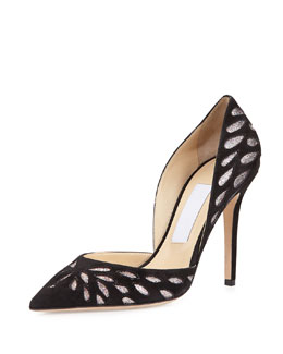 Daysha Cutout Suede Pump, Black