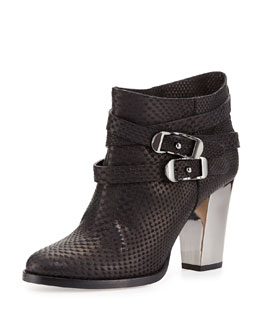 Melba Embossed Leather Bootie, Black