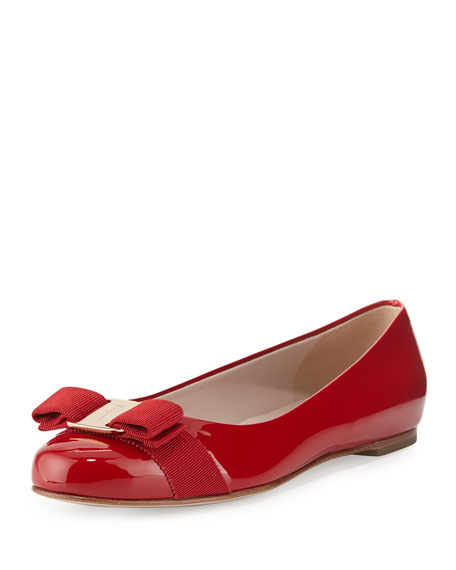 Patent Bow Ballerina Flat, Rosso (Red)