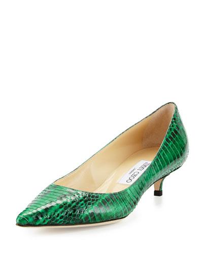 Amelia Snakeskin Kitten-Heel Pump, Green