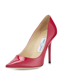 Abel Patent Pointy Pump, Raspberry