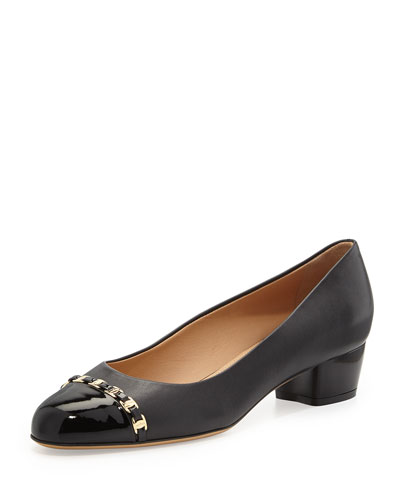 Pim Leather Cap-Toe Pump, Nero