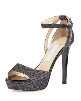 Kayden Glittered-Lace Sandal, Black/Anthracite