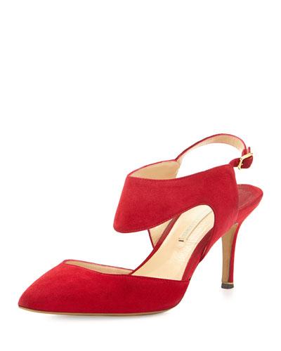 Suede Cutout Point-Toe Pump, Beetroot
