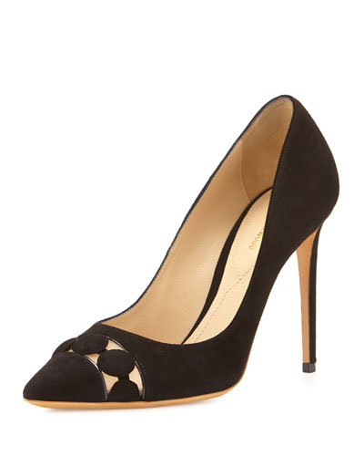 Dotted Mesh-Inset Point-Toe Pump