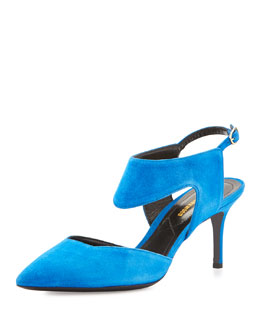 Leda Suede Cutout Point-Toe Pump, Electric Blue