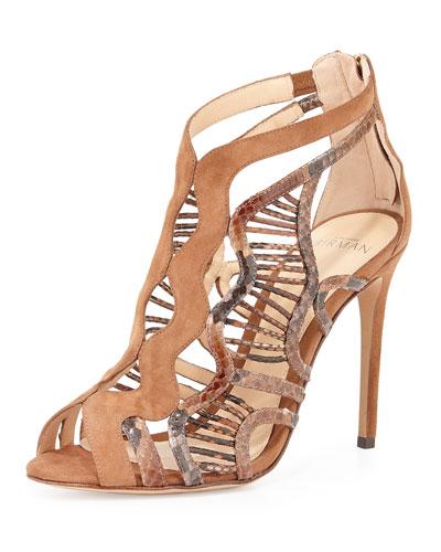 Koleta Suede & Python Cutout Sandal