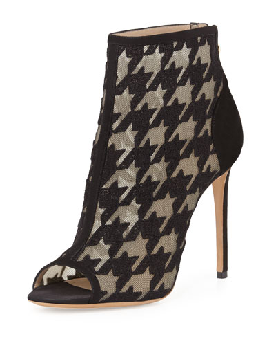 Peep-Toe Houndstooth Embroidered Mesh Bootie