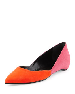 Colorblock Suede Point-Toe Skimmer, Pink/Coral