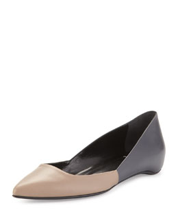 Colorblock Leather Point-Toe Skimmer, Taupe/Anthracite