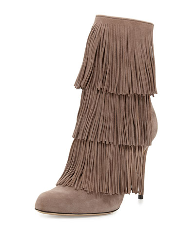 Taos Suede Fringe Boot, Taupe
