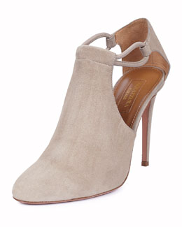 Darling Suede Side-Cutout Bootie, Ash