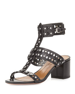 Rebel Studded Leather Sandal, Black