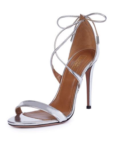Linda Crisscross Tie-Back Metallic Sandal, Silver