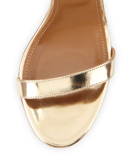 Linda Crisscross Tie-Back Metallic Sandal, Light Gold