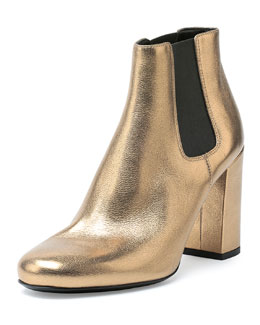 Gored Metallic Leather Ankle Bootie, Gold