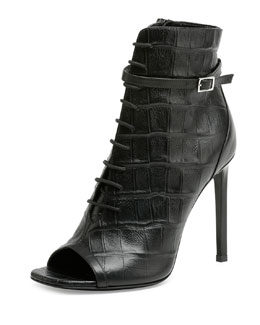 Croc-Embossed Lace-Up Peep-Toe Bootie