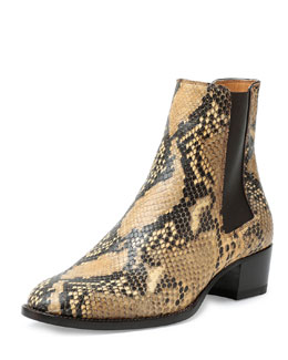 Blake Python-Embossed Leather Bootie