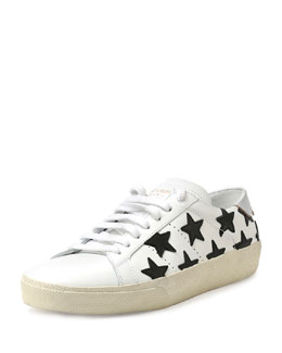 Star-Embroidered Leather Sneaker