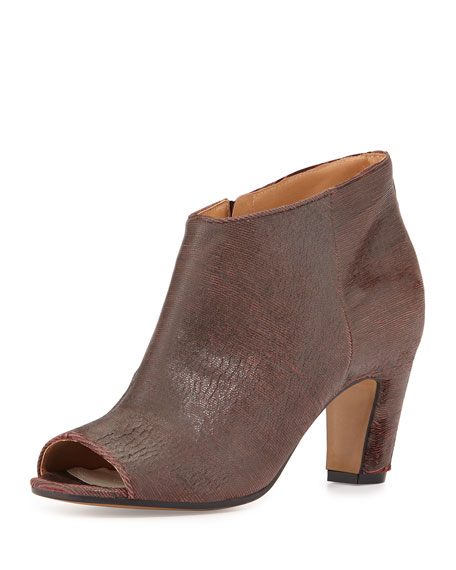 Striated Open-Toe Leather Bootie