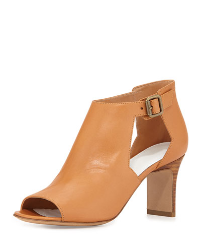 Cutout Leather Peep-Toe Sandal