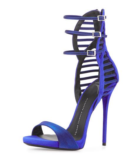 Iridescent Satin & Suede Triple-Strap Sandal
