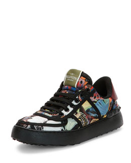 Camu Butterfly-Print Leather Sneaker