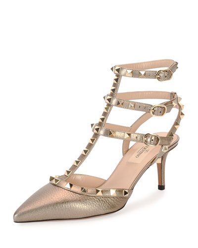 Rockstud Metallic Leather Sandal, Light Gold