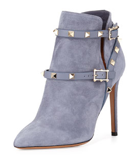 Rockstud Suede Ankle Bootie, Gray