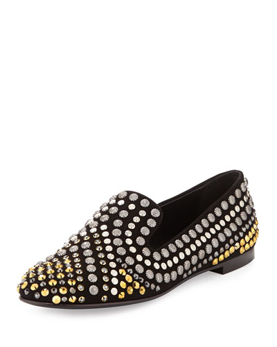 Two-Tone Mixed Studded Smoking Slipper