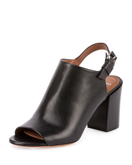 Pure Line Leather Slingback Bootie