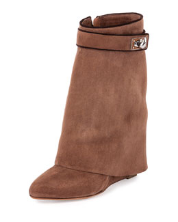 Shark Lock Fold-Over Boot, Dark Brown